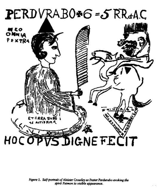 Self-depiction of Crowley summoning the demon Paimon.