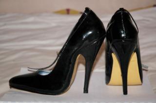 Black high heeled shoes