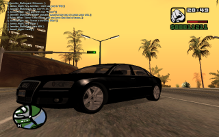 An example of SA:MP on a role-play server, along with a modded Audi A8 W12 sedan.