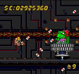Zonk blasts through a variety of enemies from the Bonk franchise.
