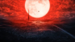 Inaba covered in the red fog. The Shadow Operative helicopter heads towards the giant tower