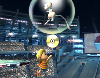 Mew can drop CDs as a present in Brawl. Each unlocking a new song to listen to and choose for stages.