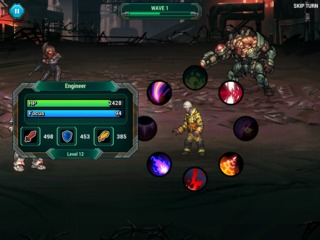 An example of Sonny's combat options. Faded icons represent passive skills.
