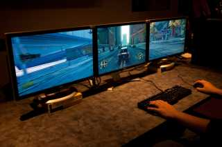 The PC version running on multiple monitors