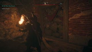 Until you get explosive arrows, these walls can only be destroyed by finding a small oil jar, hauling it over, and throwing it
