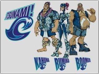 Team Tsunami. Left to Right: Kahuna, Rumiko, and Boomer.