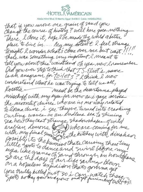 Excerpt from letter to Miss Ellingsworth, as the drug sets in