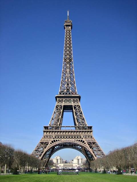 The Eiffel Tower, the city's famous landmark.