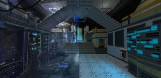 Strafe's graphics offer a hyper realistic version of its concept art.