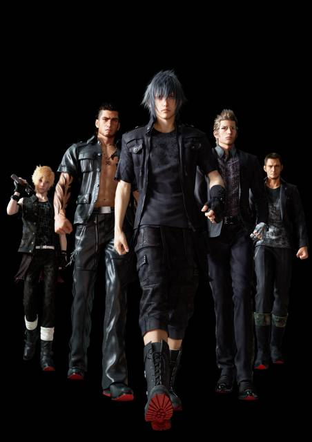 Noctis and his crew. From left to right: Prompto, Gladiolus, Noctis, Ignis, and Cor.