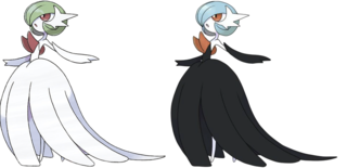 Mega-Gardevoir and it's shiny counterpart.