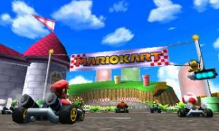 One of the thirty-two tracks of the game and the racers are lined up at the starting line