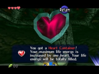 Link nabs a heart container left by a boss, as they are wont to do