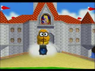 Mushroom Castle as seen in Super Mario 64.