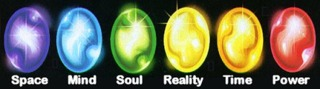 The six Infinity Gems. Note that the colors have changed in the game.