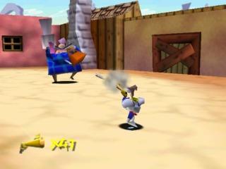Earthworm Jim blasting an enemy.