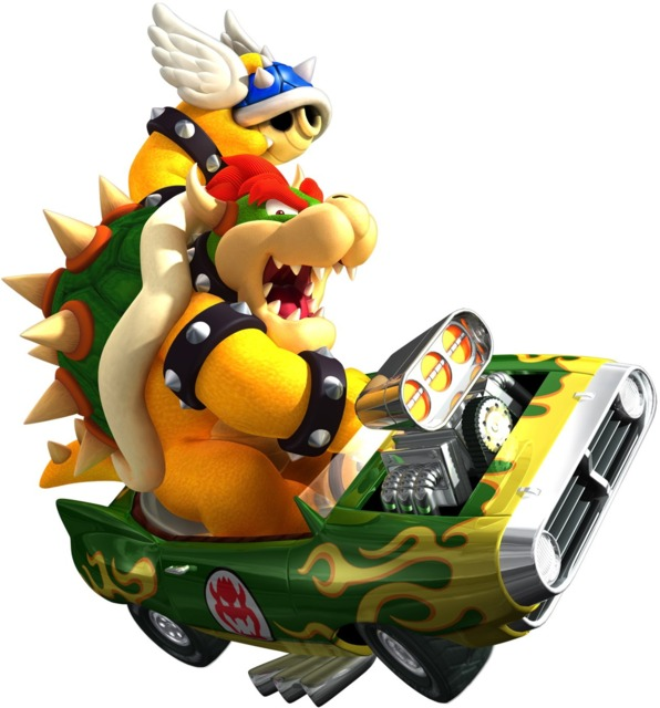 Bowser wielding the game-changing Blue Shell