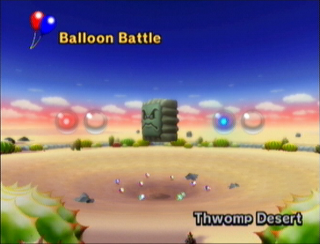 The entire arena with a Thwomp in the middle.