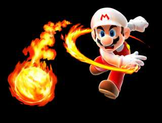 Fire Mario, throwing a fireball (Super Mario Galaxy).