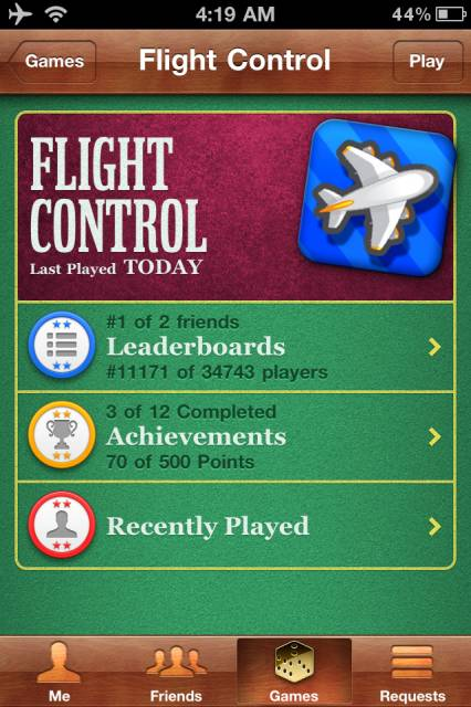 From the Flight Control page you can view leaderboards and achievements