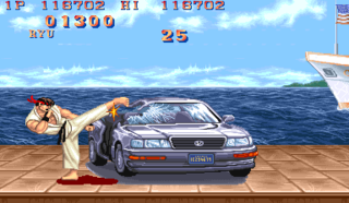 Ryu destroys a car with his bare hands (and feet).