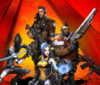 The four main protagonists (clockwise from top): Axton, Salvador, Maya, and Zer0.