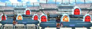 A comparison of an in-game aspect ratio of the wii console. The 16:9 anamorphic widescreen displays more left and right including in the wii menu. The 4:3 ratio displays more top and bottom (only in-games like Super Smash Bros. Brawl). The wii menu crops off the left and right if set on 4:3.