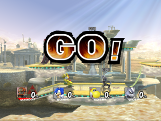 Ganondorf, Sonic, Yoshi and Wolf are starting to fight.