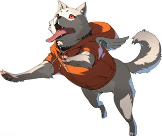 Persona 3 character Koromaru as he appears in Persona 4 Arena Ultimax.