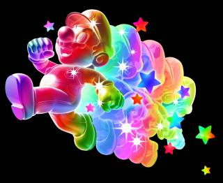 Mario under the effects of the Rainbow Star.