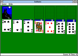 A standard game of Solitaire in Windows 3.1