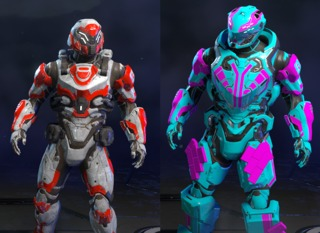 Left: The default armor style. Right: An example of a custom armor style.