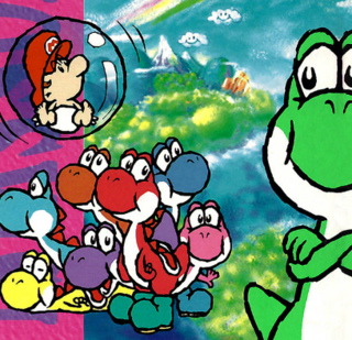 The many Yoshis playable in the game, alongside the baby Mario.