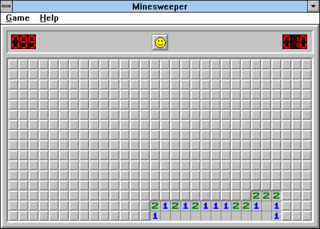 A high-difficulty game of Minesweeper in progress, running on Windows 3.1