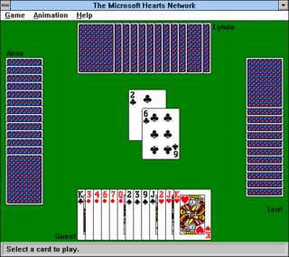 A standard game of Hearts in Windows 3.1