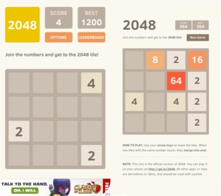 The difference between 2048 on the web and 2048 on iOS and Android? Ads.