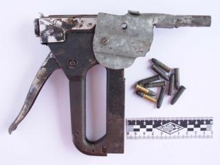 A zip gun made from a staple gun