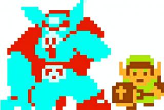 Sprite of Ganon from The Legend of Zelda, next to Link.
