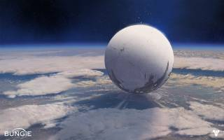 The Traveler floats above the last human city.