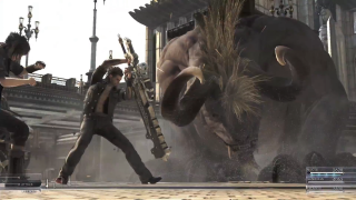 Gladiolus shields Noctis from an enemy monster