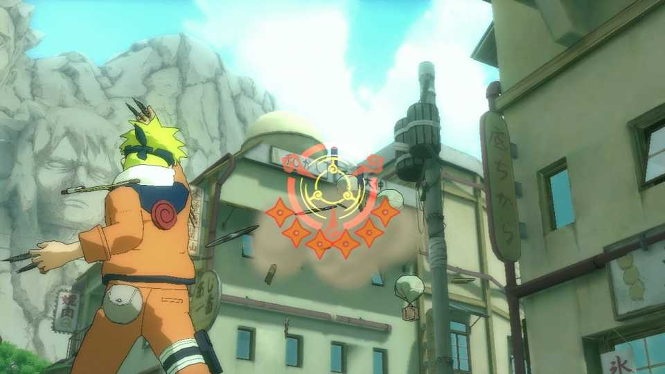 Naruto breaking floating boxes that contain ninja scrolls