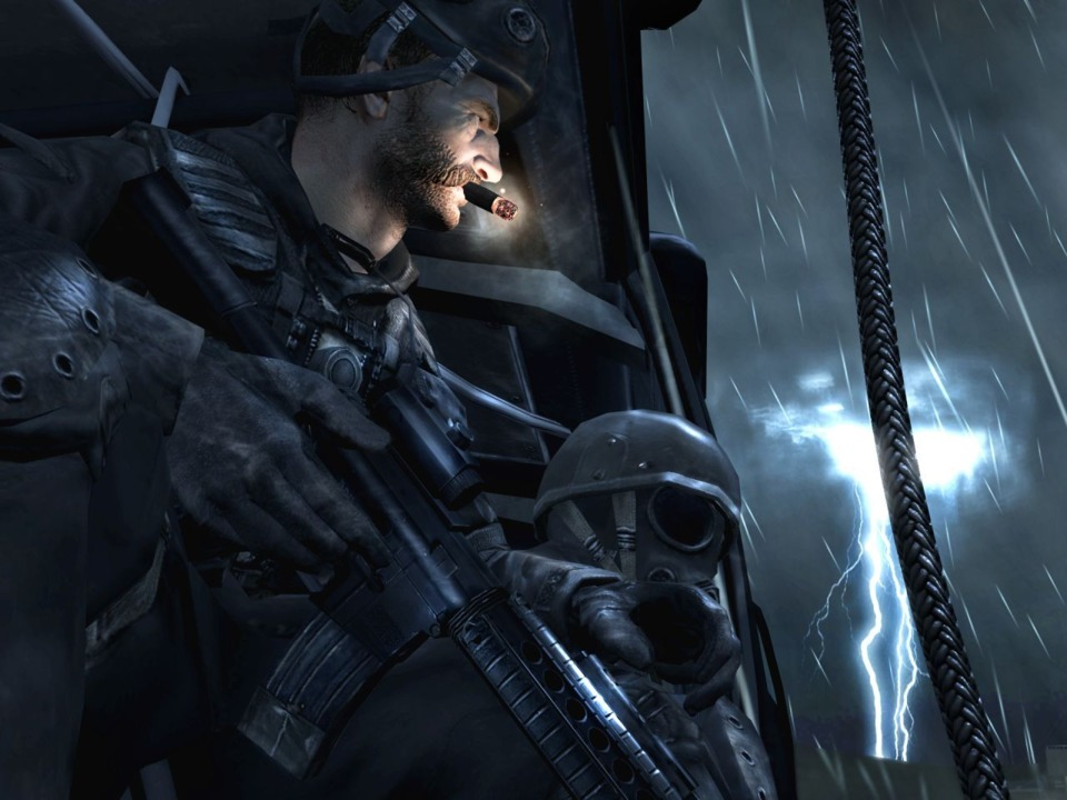 Captain Price in a helicopter from the first official mission in the game