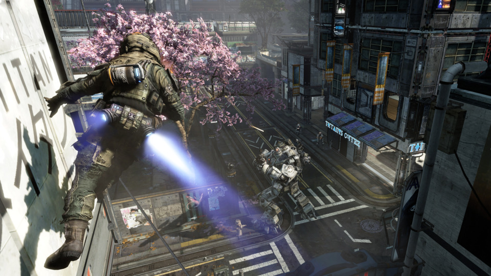 Wall-running and a big robot. This image sums up Titanfall's unique features pretty perfectly.