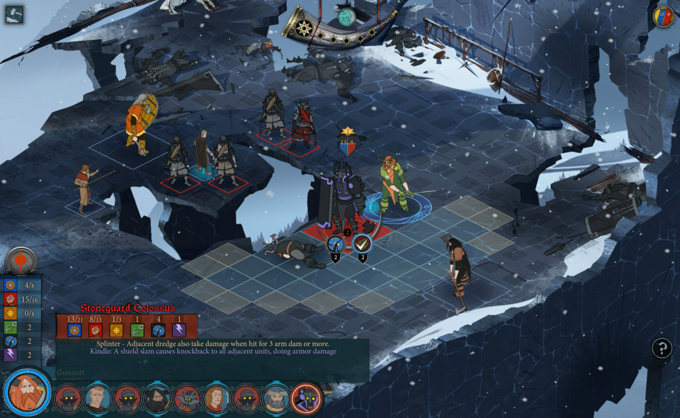 Battles take place on various grids like this, and follows a turn-based progression.