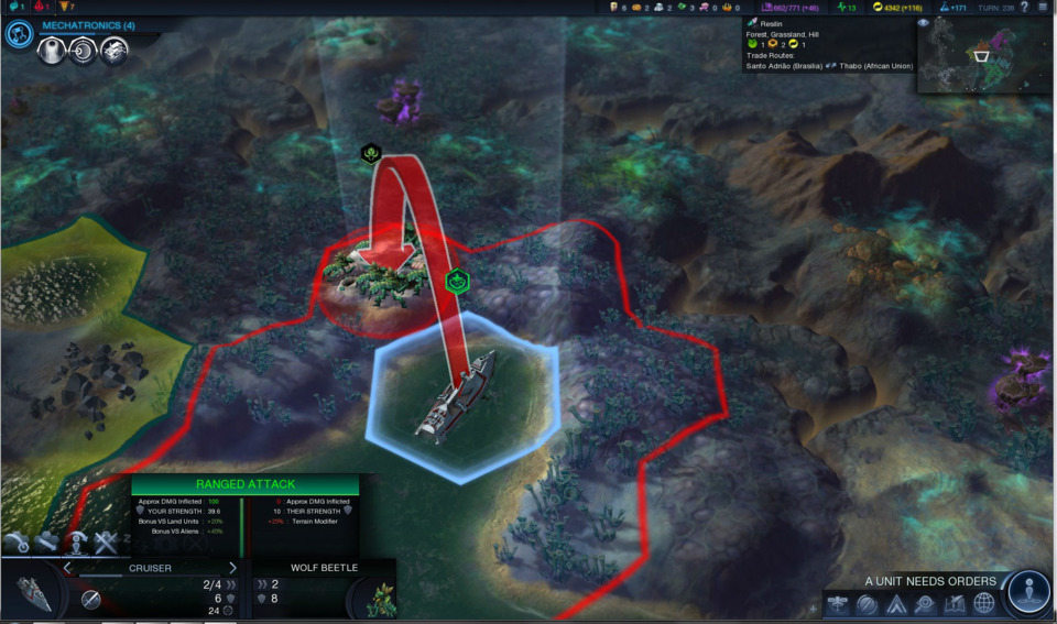 Combat is reasonably challenging in the early goings of the game, but once you get a few upgrades, it's a cakewalk to bowl over both strategically dim rival Civs and the indigenous alien life.