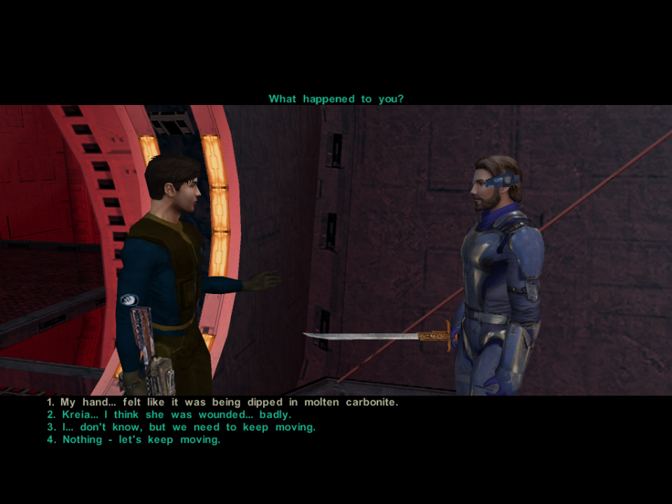 You can take your time making a choice in KOTOR, but you also have a finite choice selection.