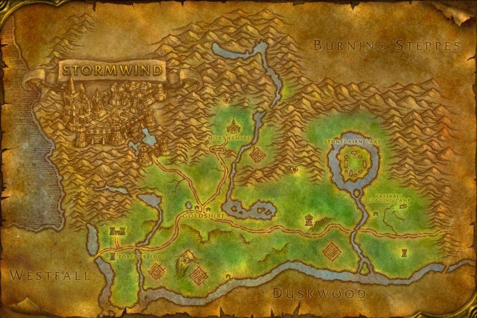 In-game map of Elwynn Forest.
