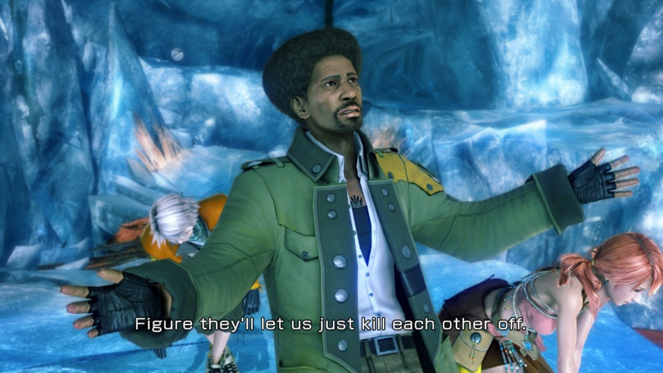 I take back everything I said last episode about Snow, Sazh has the worst script in the game.