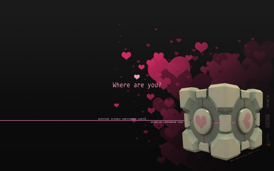 A popular Weighted Companion Cube wallpaper by The Hamster Alliance