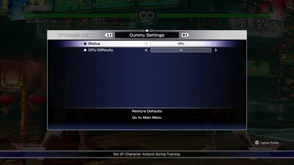 CPU settings with difficulty